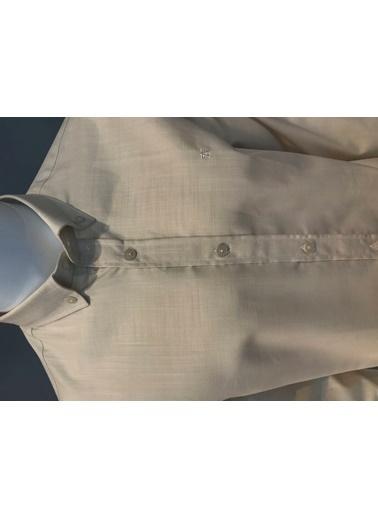 Abbate Düğmelı Yaka Slım Fıt Keten Görünümlü Casual Gömlek Bej